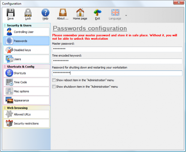 Passwords configuration