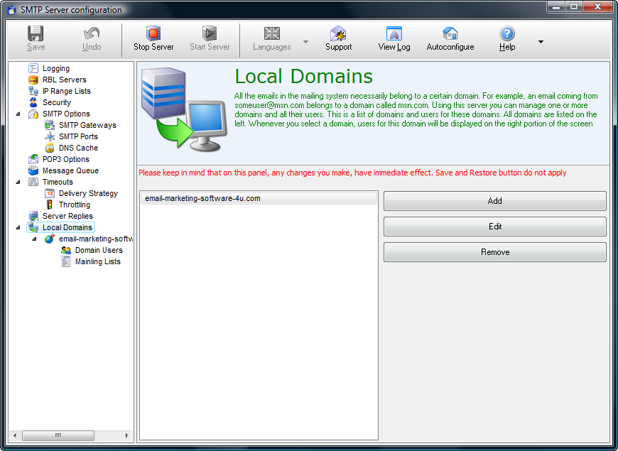 E-Mail Server screenshot: simple smtp server, desktop smtp server, corporate smtp server,s